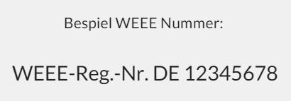 Beispiel WEEE Nummer